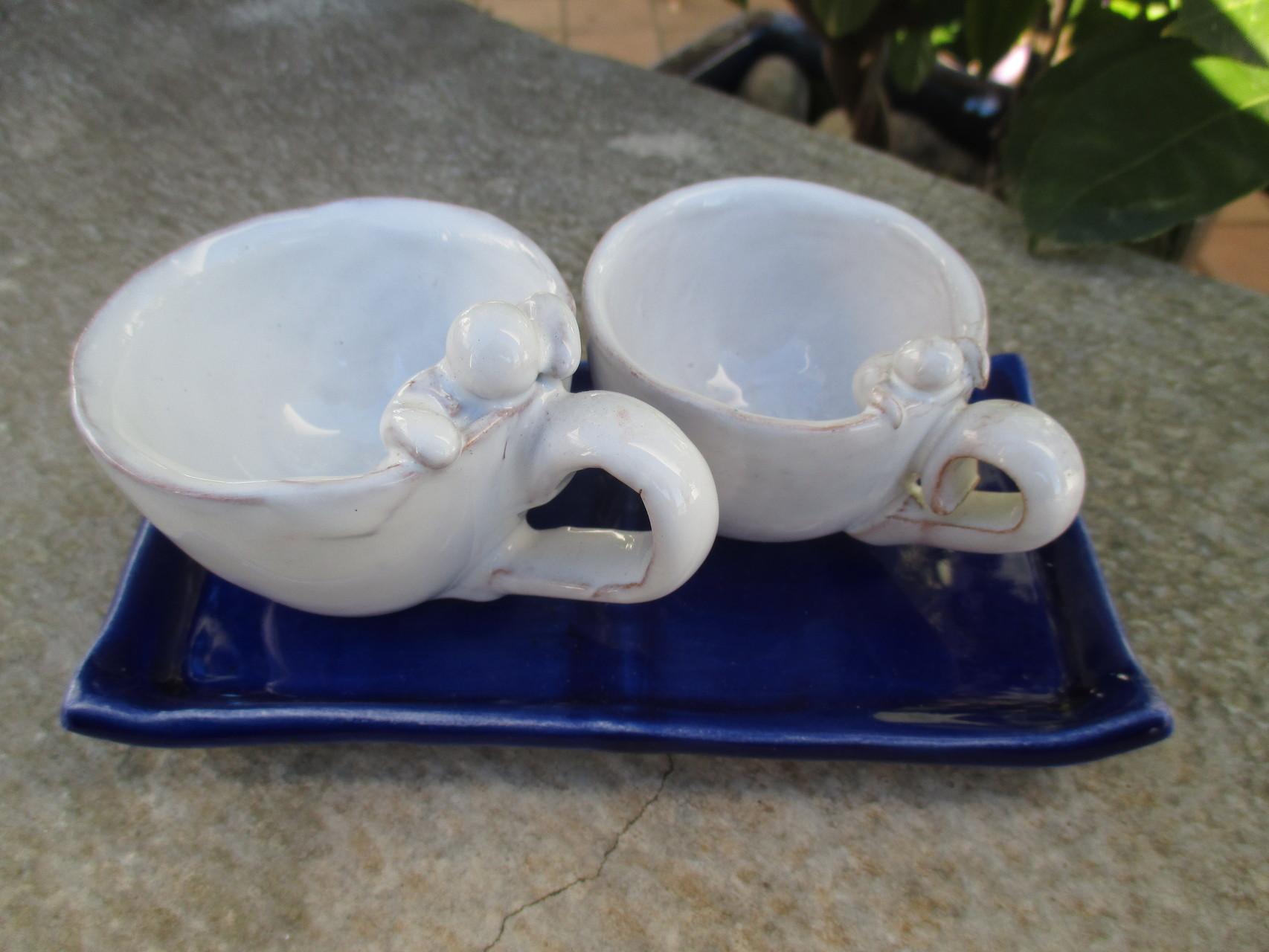 Tazzine con vassoio in ceramica, Le Terre di Rò