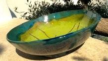 Ciotolone in ceramica scura con cristallina verde ramica apiombica. Le Terre di Rò