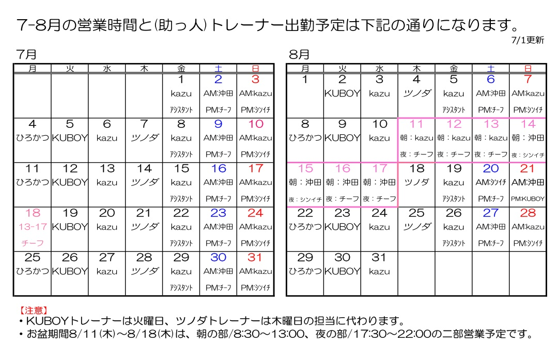 江南ボクシングジムのトレーナー勤務体制時間表