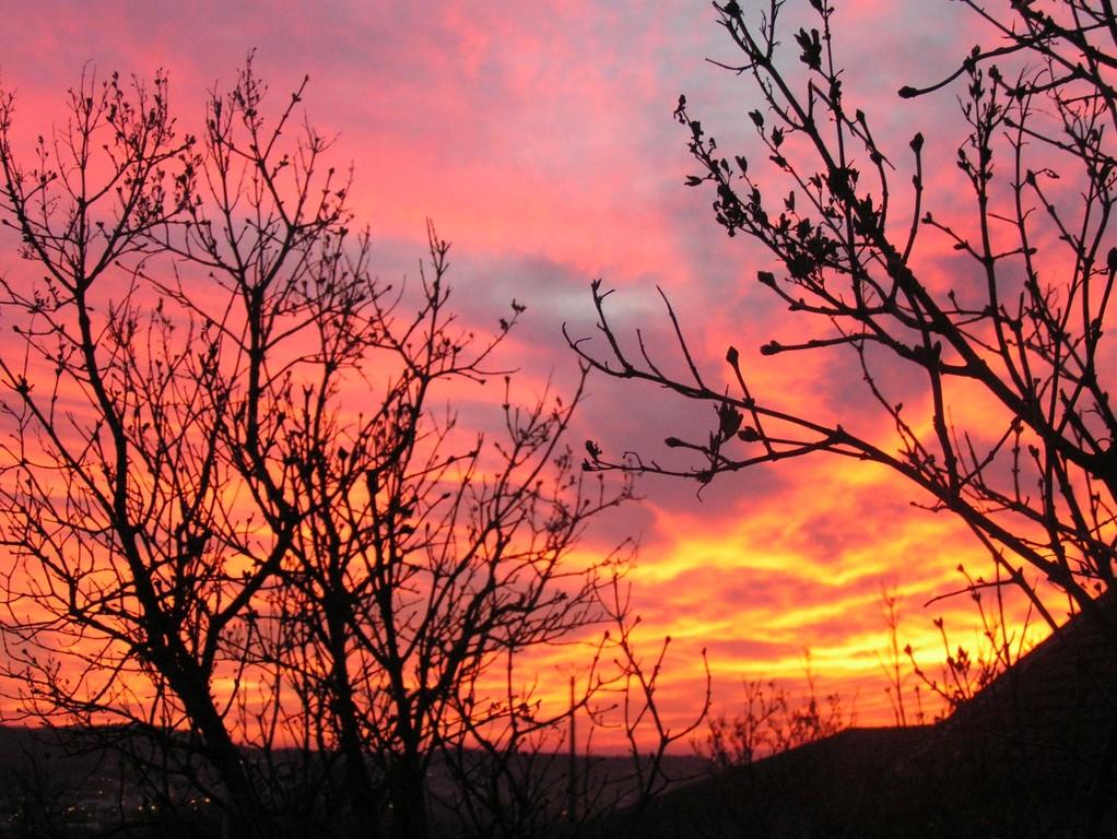 retour à Pannessières - coucher de soleil flamboyant