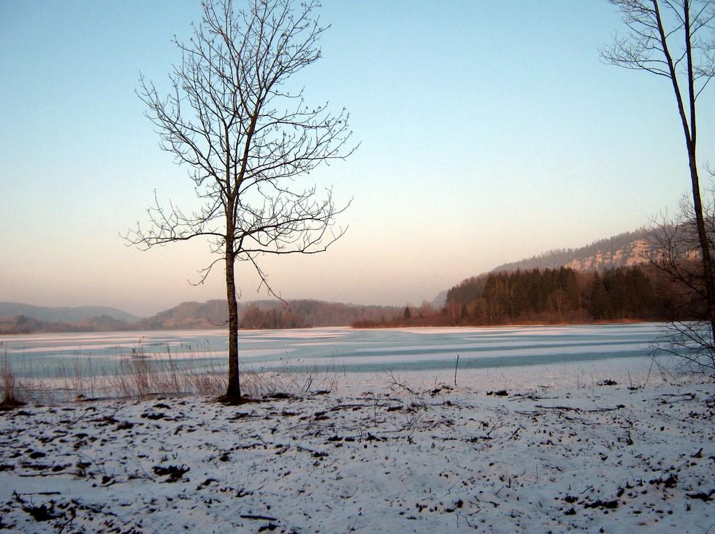 retour par le lac d'Ilay pris par le gel