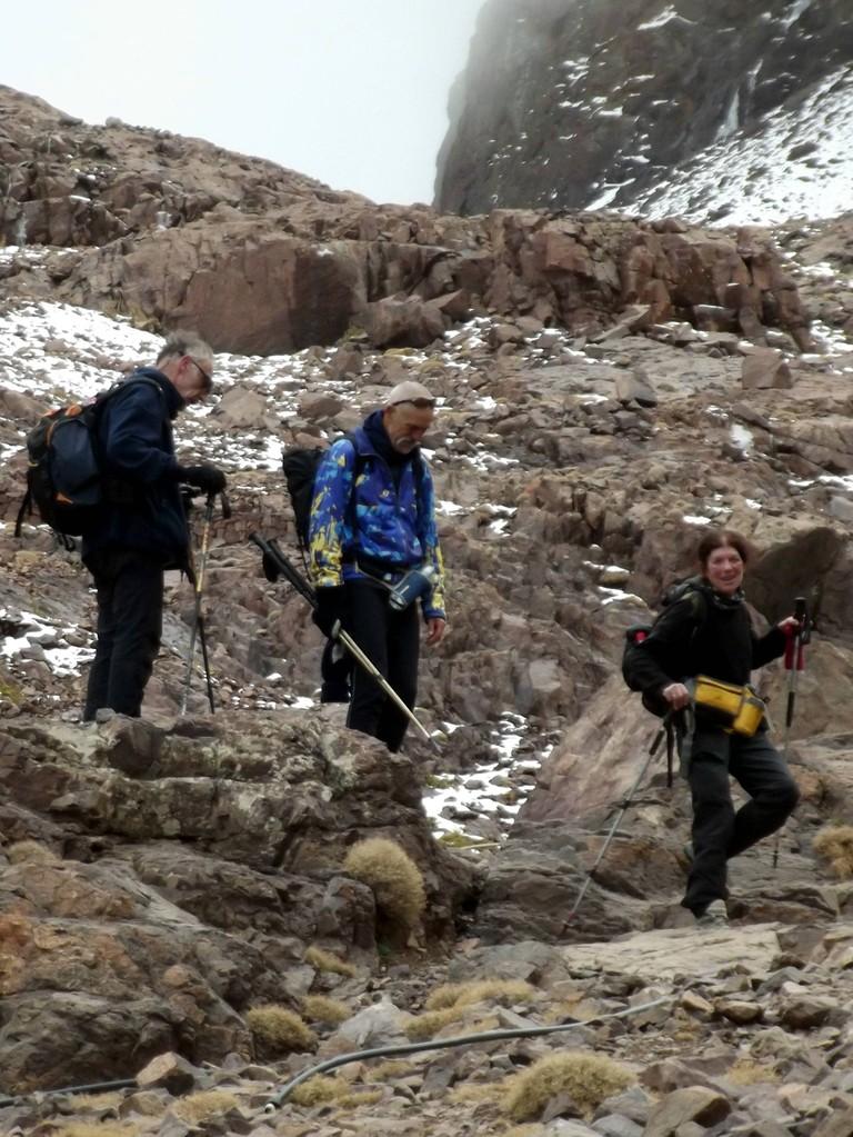 l'arrivée après l'ascension du Toubkal