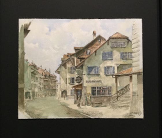 Spezialisiert auf das Einrahmen von Papiergut; Aquarell von D.Rawyler / Rest. Mühlirad, Matte Bern