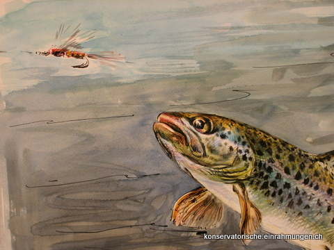 Fliegenfischen; Aquarell von Roland Guatelli
