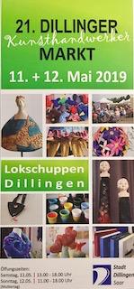 Mai 2019: Pam Jonas X LokSchuppen Dillingen, Flyer Dillinger Kunsthandwerkermarkt 2019
