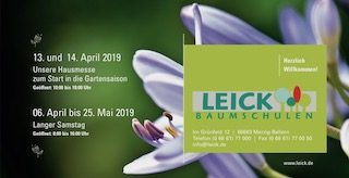 April 2019, Pam Jonas X Baumschulen Leick, Merzig, Flyer zur Hausmesse