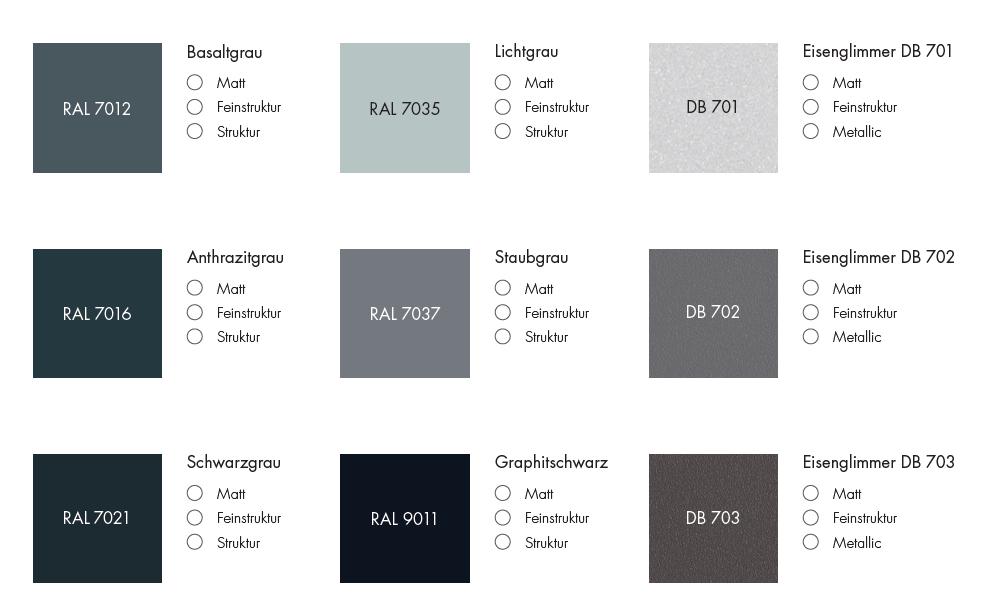 Die Abbildung zeigt eine kleine Auswahl gängiger Farben. Bitte beachten Sie, dass je nach Bildschirm die Farben zum Teil sehr unterschiedlich dargestellt werden und die gelieferten Mülltonnenboxen abweichen können.