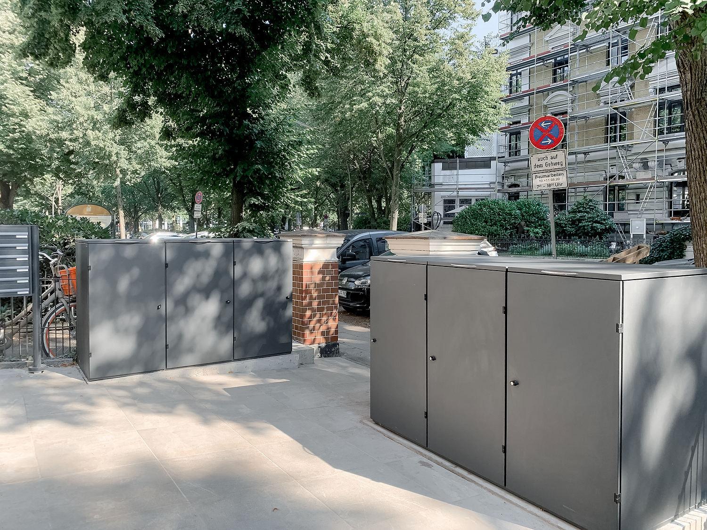 Mülltonnenbox Edelstahl Modell OSLO - Farbe DB 703 Metallic