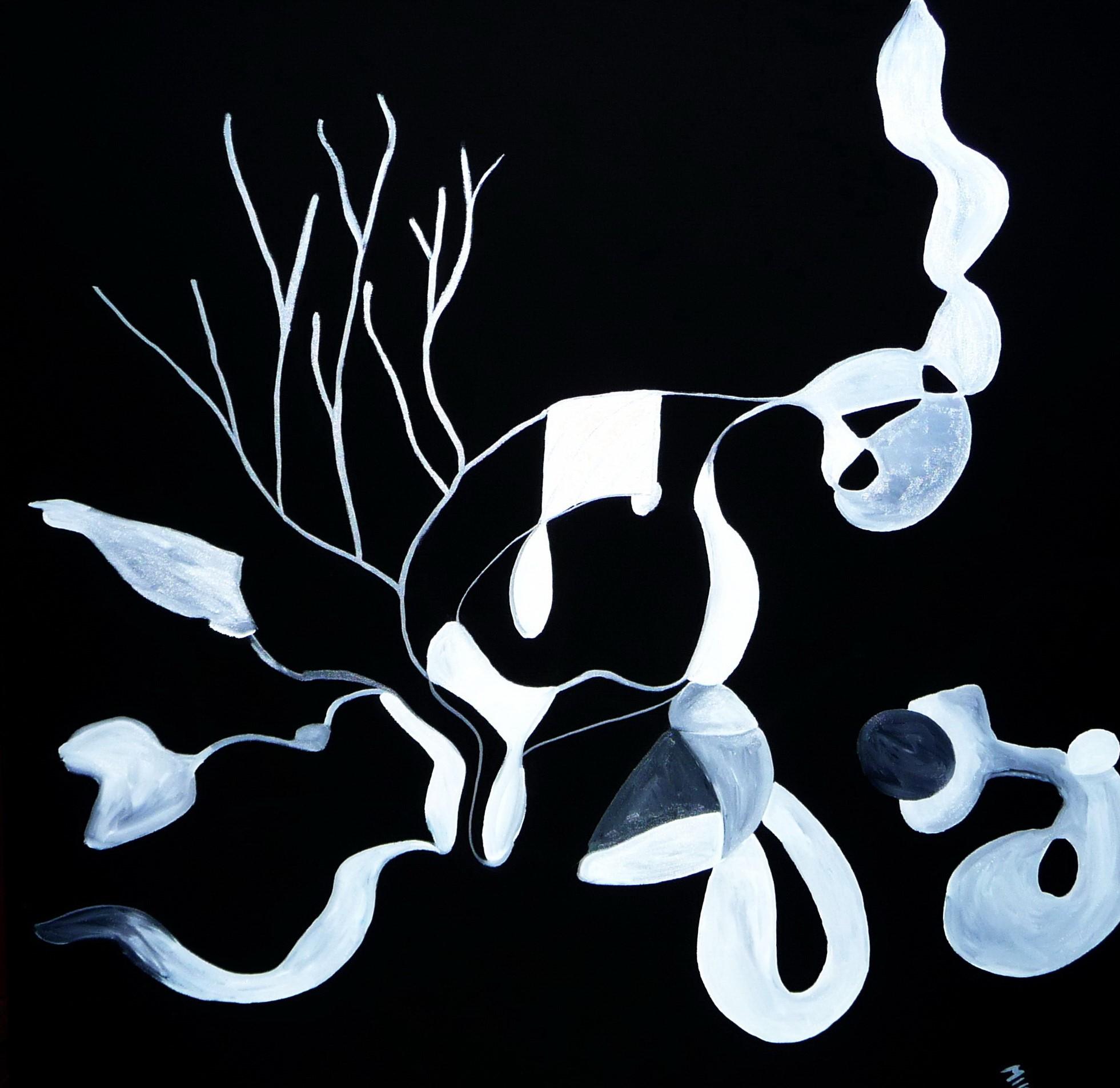 """""""Nachts im Garten""""___oil on canvas___1000 x 1000 mm"""