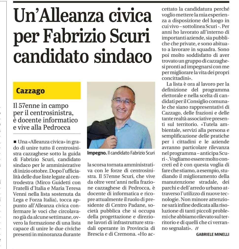 Una bella notizia: Fabrizio Scuri candidato sindaco a Cazzago S.M.!
