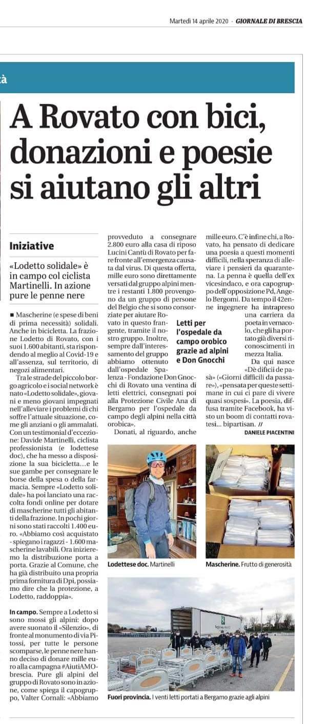 Giornale di Brescia del 14/04/2020: solidarietà vera e ...una piccola poesia
