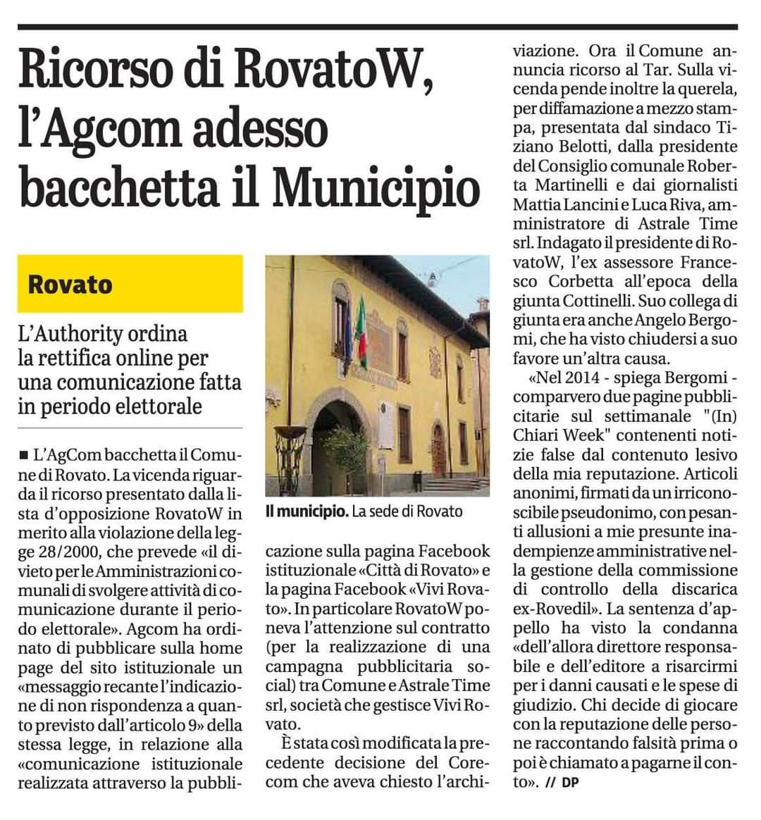 Anche il Giornale di Brescia parla della mia causa civile