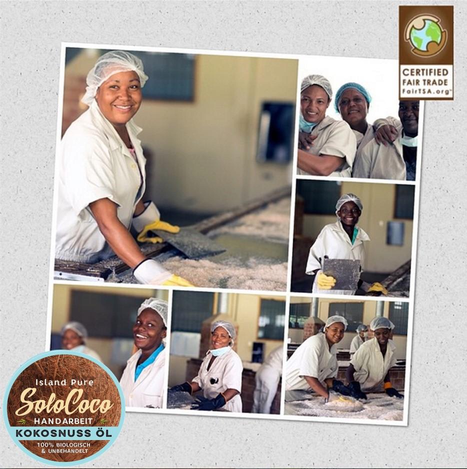 durch Fair Trade werden bei SoloCoco insbes. alleinerziehende Mütter untersützt (SoloCoco Kokosöl)