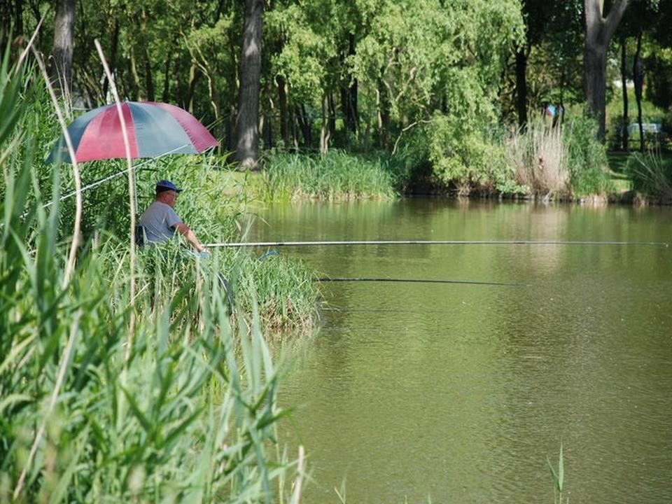 Un pêcheur sou son parasol à la Grenouillère Frise camping pêche Somme