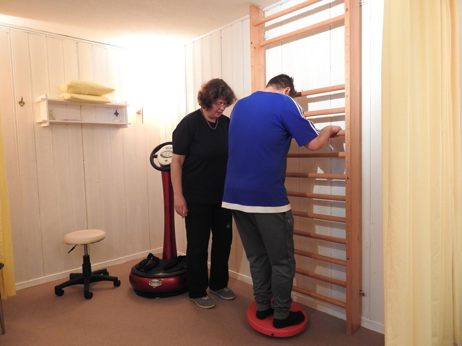 Zur Unterstützung und als weitere Möglichkeit des Muskelaufbaus mit unterschiedlichen Geräten bieten wir das Trainig an der Sprossenwand an.