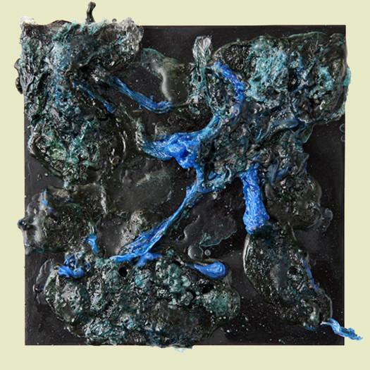 aus der serie verbrannt - 2011 - kunststofffolie auf mdf - 16 x 16 cm