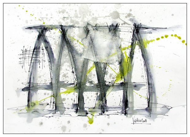 aus dem verborgenen - 2008 - tinte und acryl auf papier - 27 x 35 cm