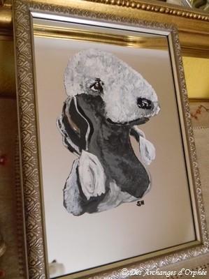 ♥ Miroir peint Bedlington ♥