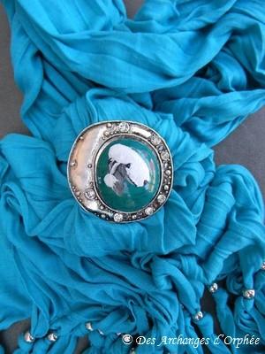 Echarpe avec anneau peinture bedlington