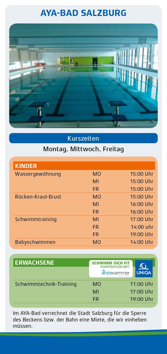 Schwimmschule Salzburg: Schwimmkurse für Kinder und Erwachsene im AYA-Bad