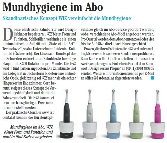 Artikel in der DZW (Deutsche Zahnärzte Woche) über die elektrische Designzahnbürste Dentally WIZ