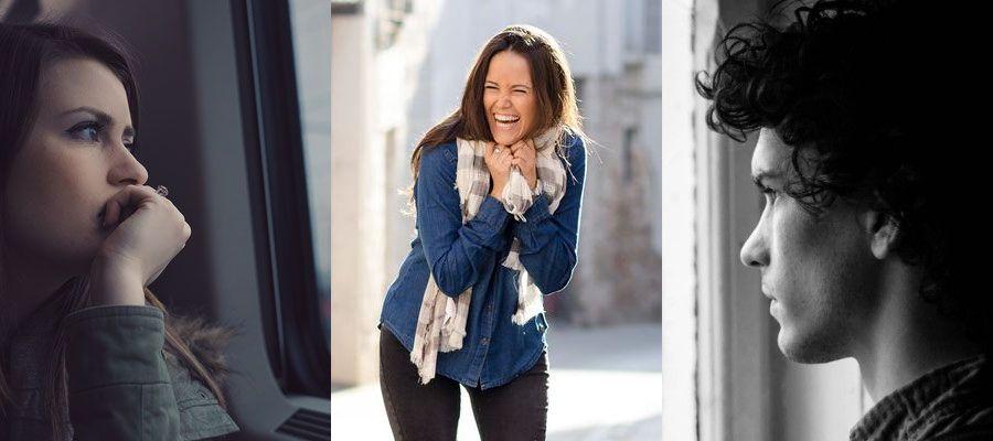 Bild zeigt fühlende Menschen, eine Frau lacht