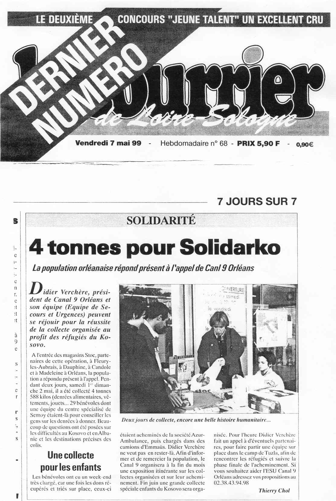 ARTICLE DANS LA PRESSE SOLIDARITÉ KOSOVO