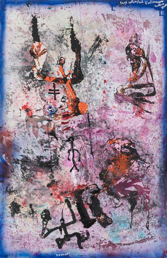 Sage contemplant l'extravagance humaine (2019) - Acrylique sur toile, 115 x 75 cm
