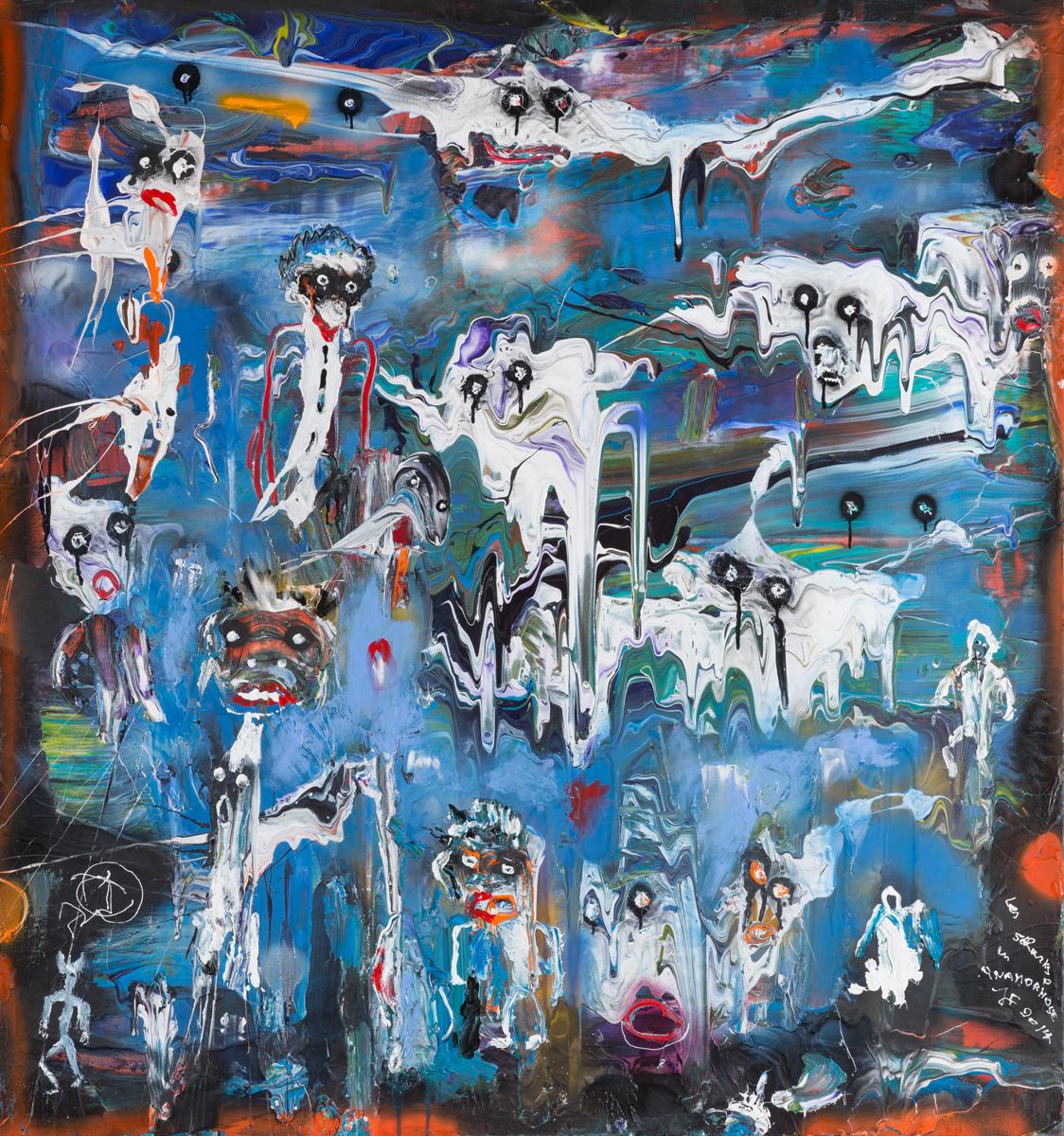 Schnarks en anamorphose (2012) - Acrylique sur toile, 150 x 140 cm