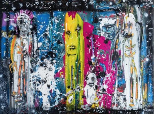 Le totem et les deux chevaliers (2014) - Acrylique sur toile 150 x 200 cm