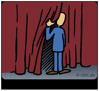 Wahrnehmung im Coaching erweitern. Bild zeigt einen Menschen, der hinter einen Vorhang schaut. In dieser Phase des Coachings geht es um die Möglichkeit, aus seinem Tunnelblick zu treten, mehr zu sehen