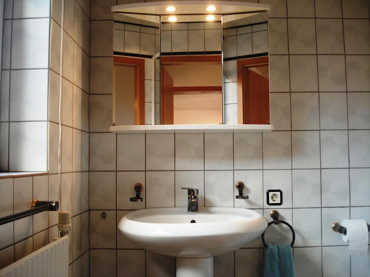 Modernes Bad mit Außenfenster, Dusche, Spielgelschrank und WC