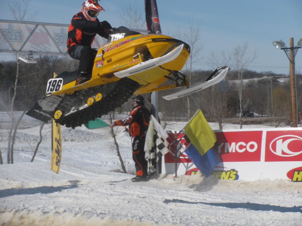 Ray Osowski getting nice air on the Plasti-Sleeve sponsored #196 Ski-Doo.