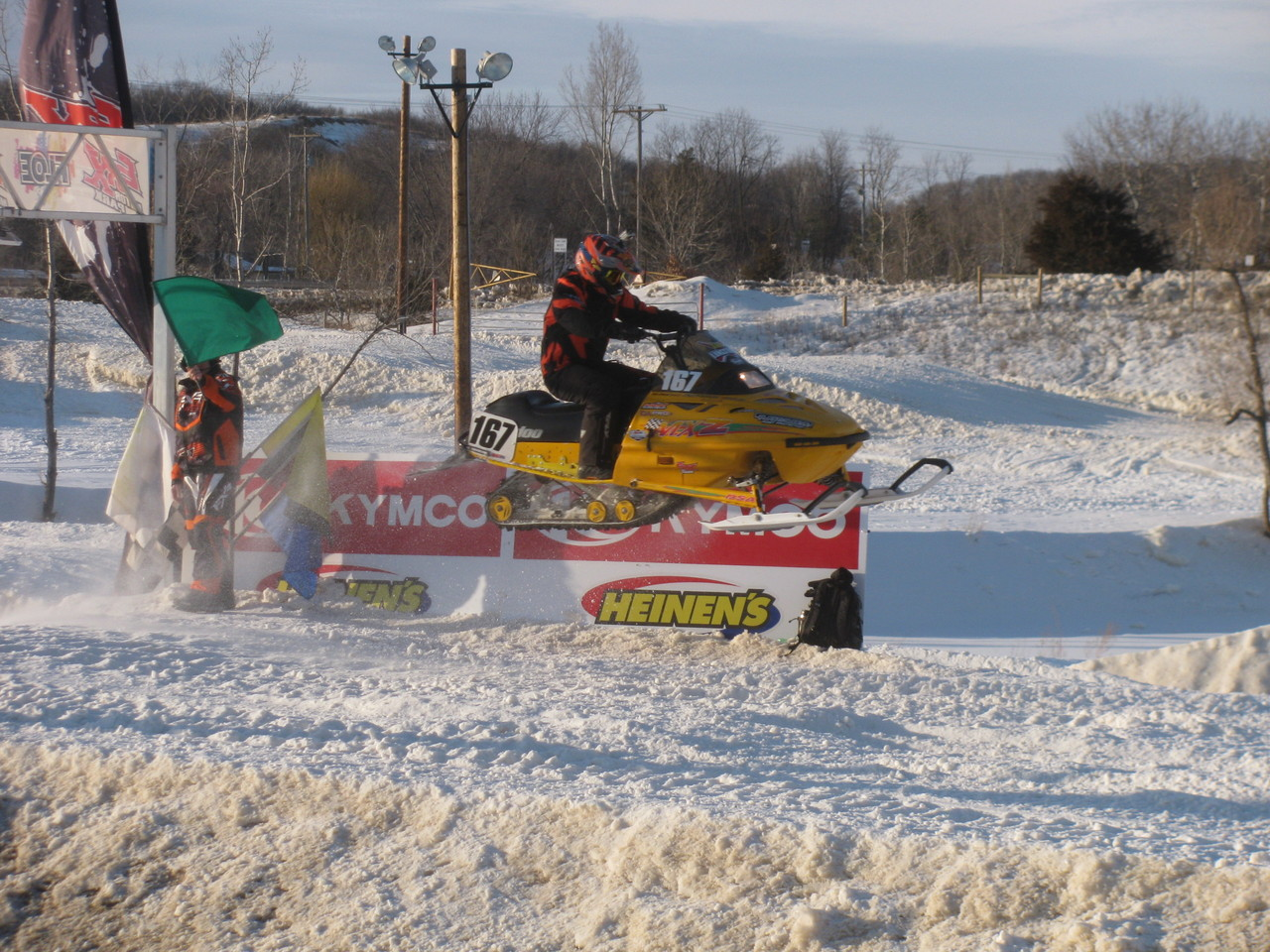 Sam Lungstrom in level flight on the Plasti-Sleeve sponsored #167 Ski-Doo.