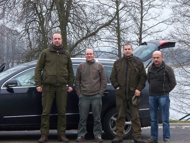 auf dem Weg nach Polen (v.l.n.r. Patrick, Steffen, Ralf, Dolmetscher Josef)