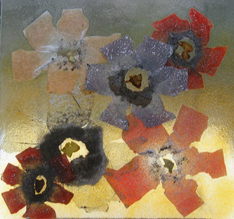 "Vitrail ""fleurs"" 70 x 70 cm"