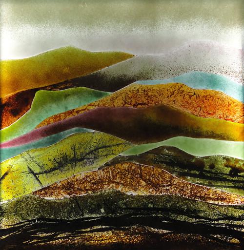 Vitrail paysage 50 x 50 cm