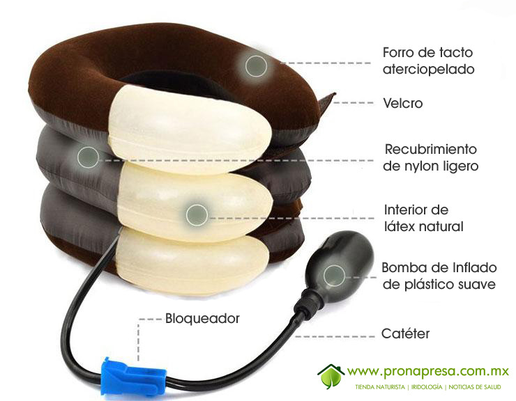 Collarín-almohada neumático de tracción cervical fabricado con materiales de alta calidad