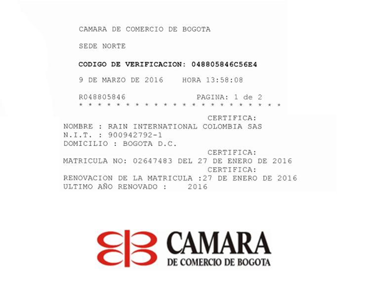 Cámara de Comercio de Bogotá | Matrícula #02647483 del 27 de Enero 2016