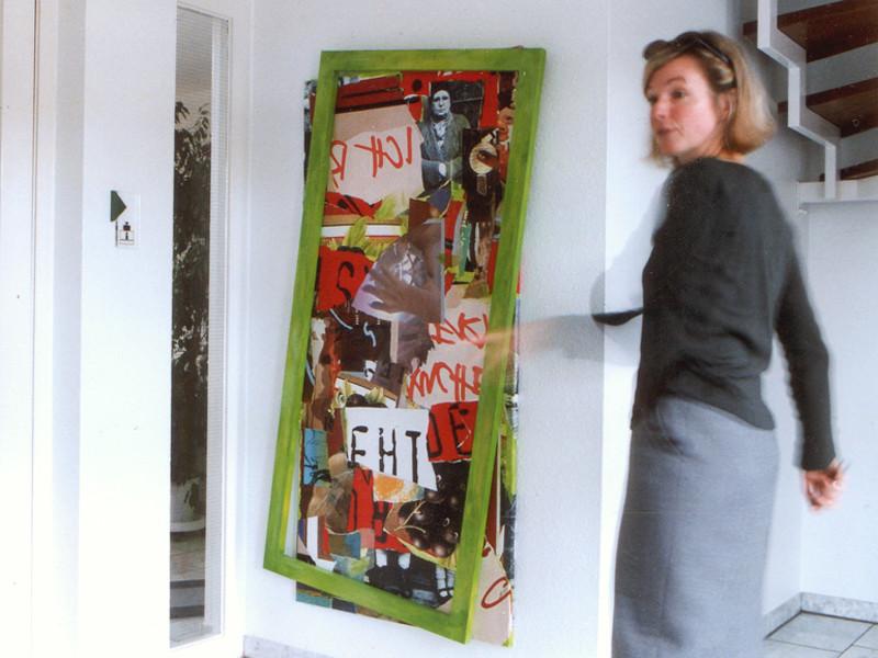Kunde Deutsche Städte Medien, Hannover, Umsetzung in Collagetechnik in schräg gehängten Aluminiumrahmen, Platzierung im Eingangsbereich