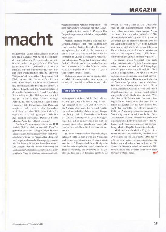 Artikel in der Niedersächsischen Wirtschaft