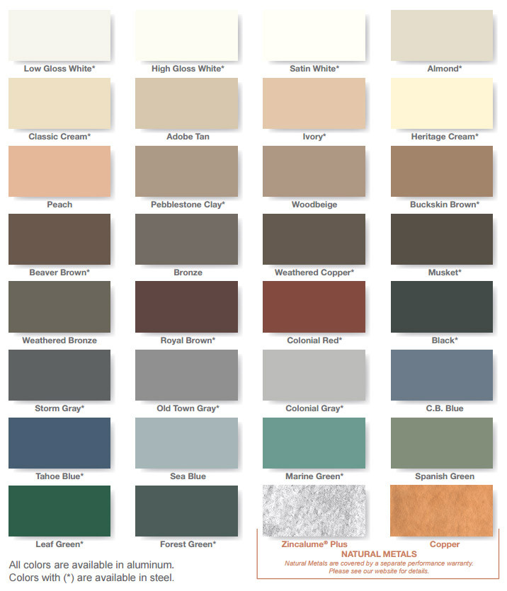 Gutter Color Chart Seattle Bellevue Everett Roofer