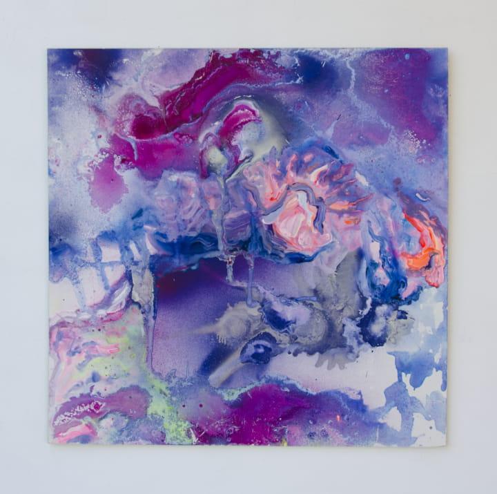 tarnet, Sprühlack und Acryl auf Holzplatte, 50 x 50 cm, 2017
