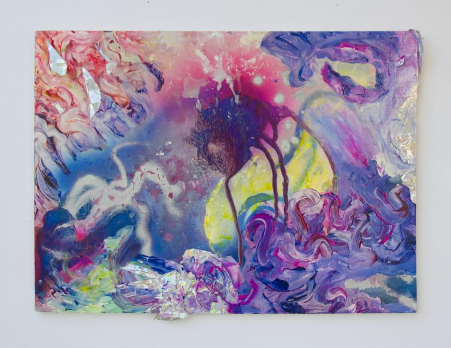 cloudcave Nr. 8,  Sprühlack und Hologramm-Folie auf Holzplatte, 50 x 20 cm, 2016