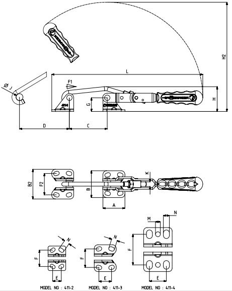 Verschlussspanner / Bügelspanner C-Befestigung mit waagrechtem Fuß