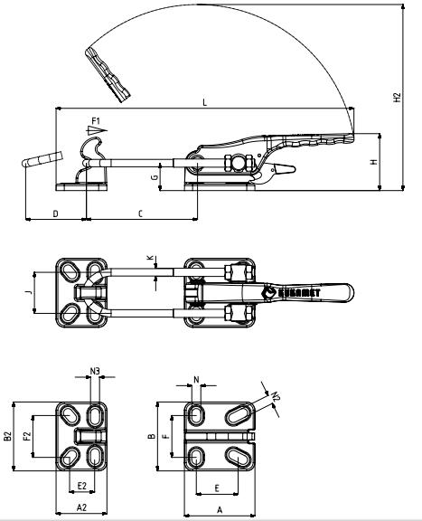 Verschlussspanner / Bügelspanner waagrecht mit Gusskörper