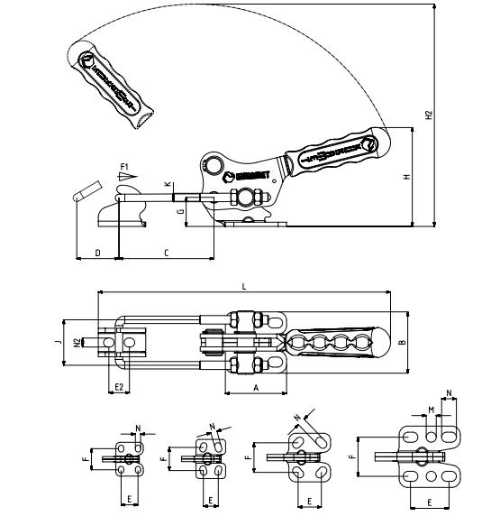 Verschlussspanner / Bügelspanner mit waagrechtem Fuß