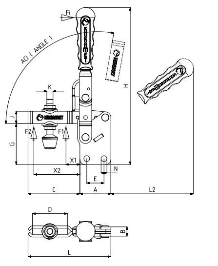 KUKAMET Vertikalspanner bzw. Senkrechtspanner oder Kniehebelspanner mit senkrechtem Fuß