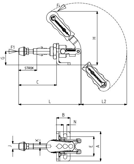Schubstangenspanner / Schubspanner mit Winkelfuß