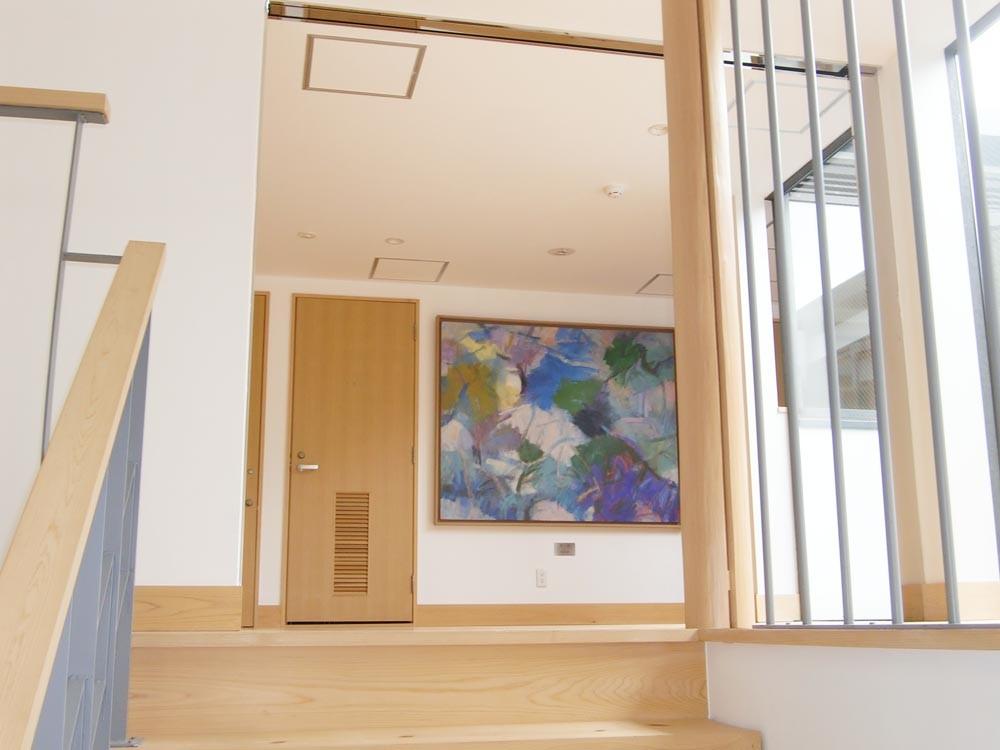 3階廊下 「里山」森本岩雄 油彩画